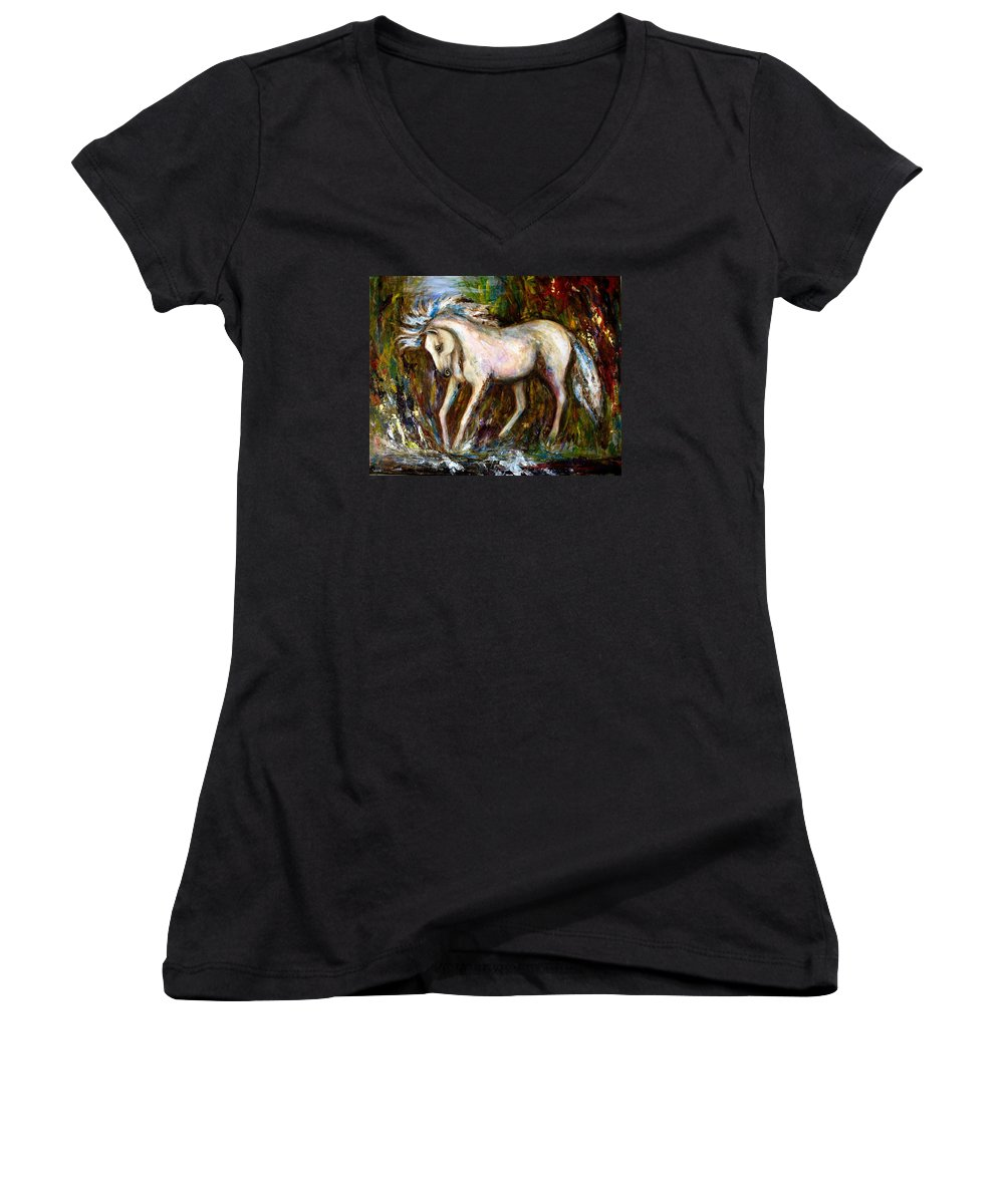 Horse Painting Women's V-Neck T-Shirt featuring the painting A Secret Place White Hores Painting by Frances Gillotti