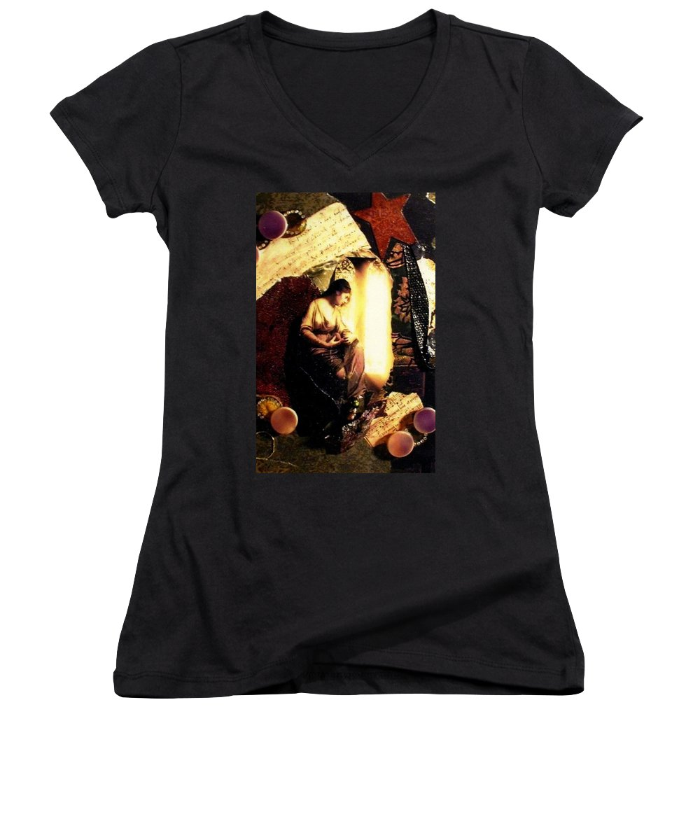 Mixed Media Women's V-Neck T-Shirt featuring the mixed media A Secret Place by Gail Kirtz