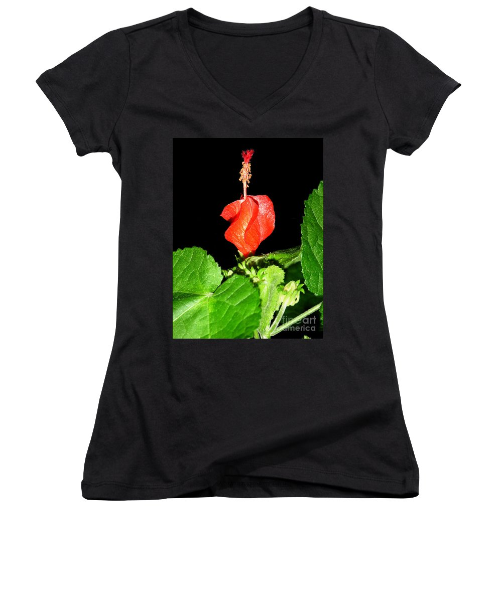 Nature Women's V-Neck T-Shirt featuring the photograph A Swirl Of Red by Lucyna A M Green