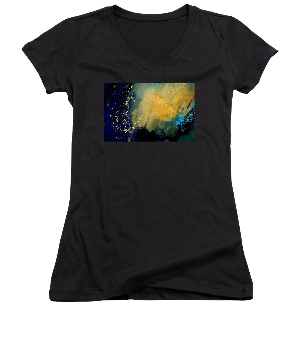 Abstract Women's V-Neck (Athletic Fit) featuring the painting Abstract 061 by Pol Ledent