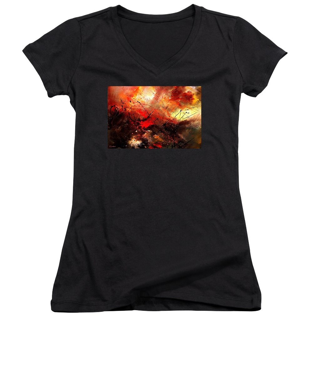 Abstract Women's V-Neck (Athletic Fit) featuring the painting Abstract 100202 by Pol Ledent