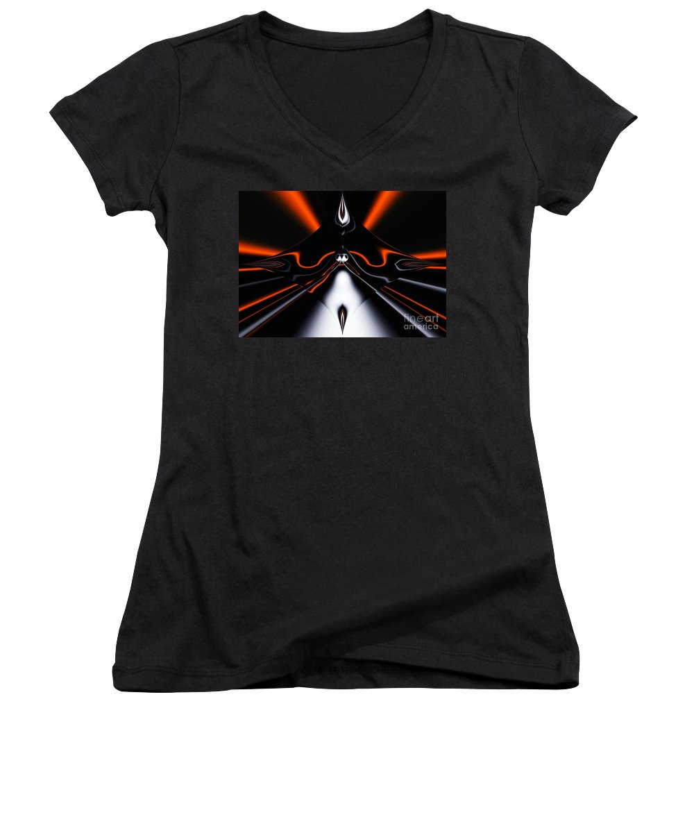 Abstract Women's V-Neck (Athletic Fit) featuring the digital art Abstract 4-22-09 by David Lane