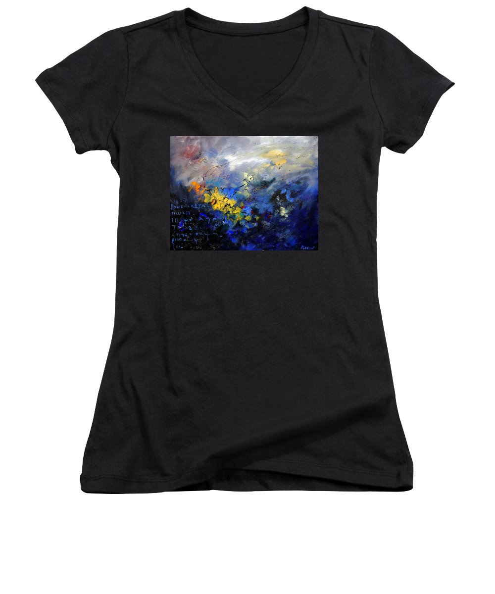 Abstract Women's V-Neck (Athletic Fit) featuring the painting Abstract 970208 by Pol Ledent