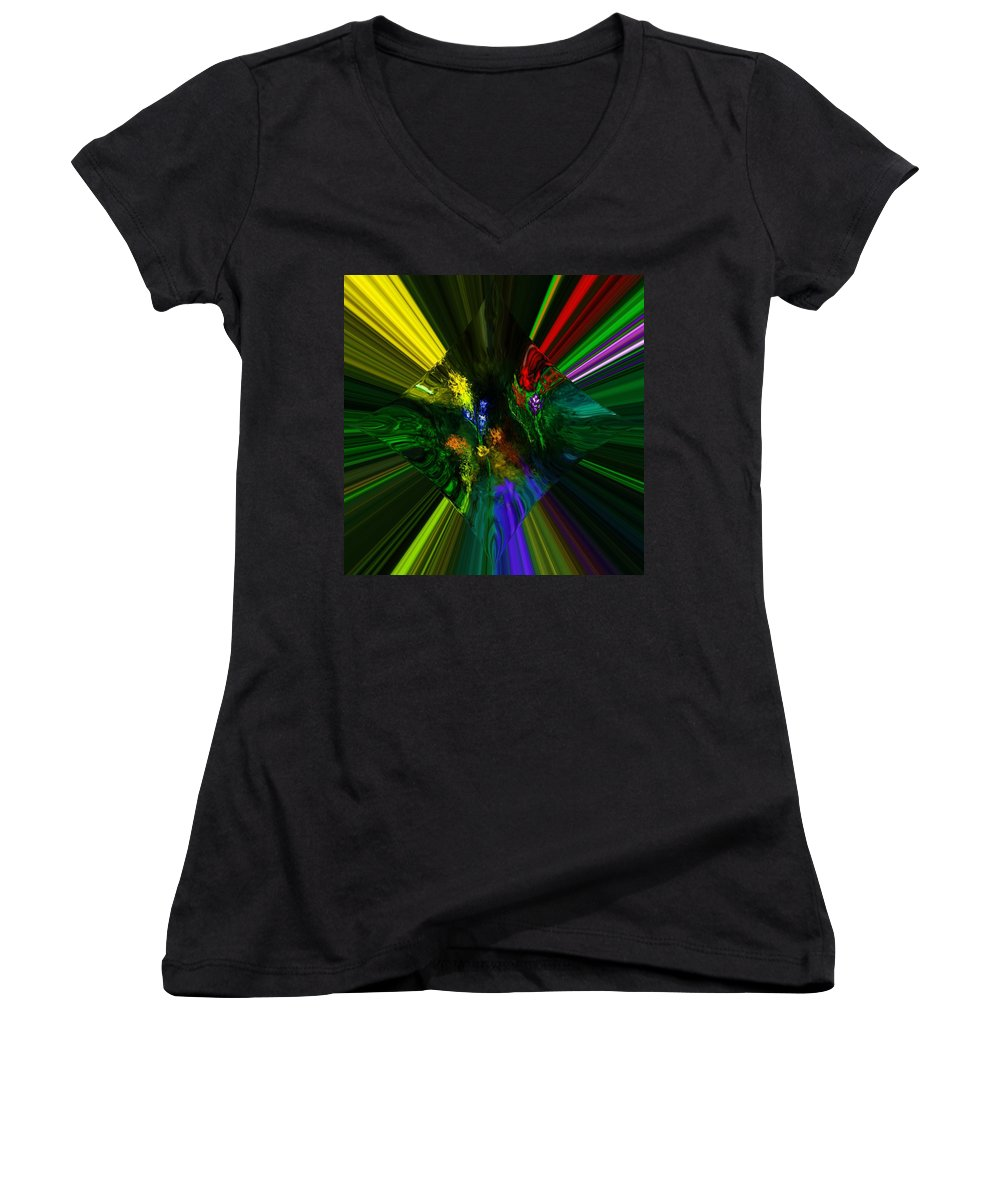 Digital Painting Women's V-Neck (Athletic Fit) featuring the digital art Abstract Garden by David Lane