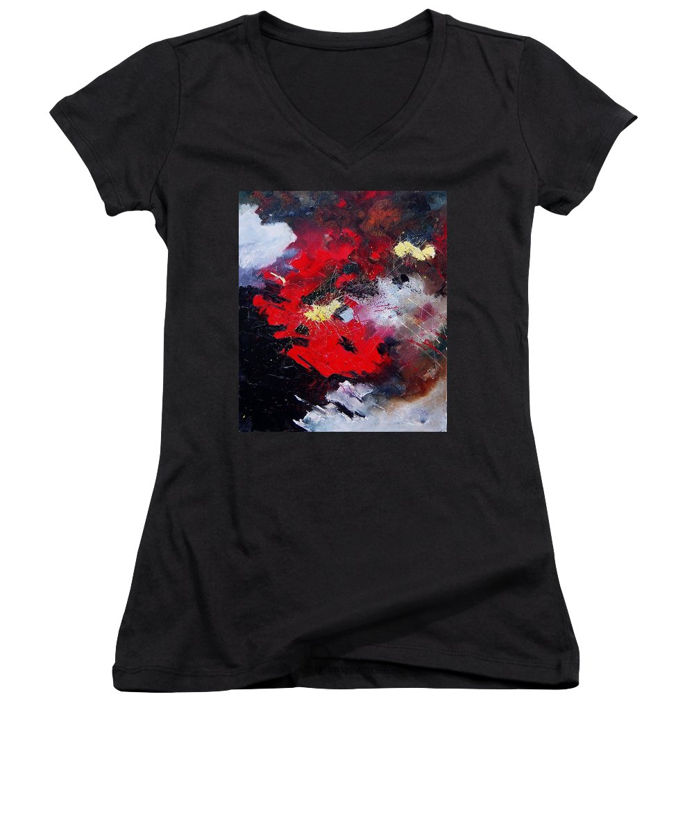 Abstract Women's V-Neck T-Shirt featuring the painting Abstract070406 by Pol Ledent