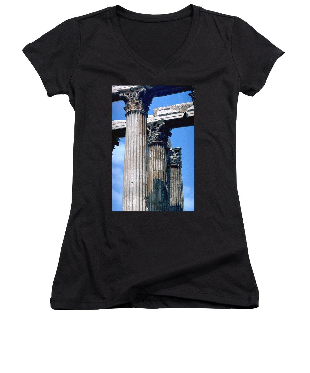 Acropolis Women's V-Neck T-Shirt featuring the photograph Acropolis by Flavia Westerwelle
