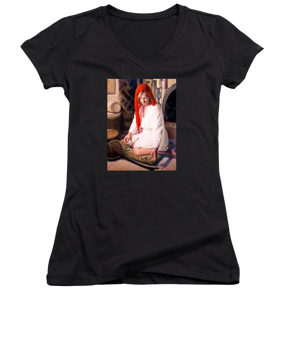 Realism Women's V-Neck T-Shirt featuring the painting African Strings 4 by Donelli DiMaria