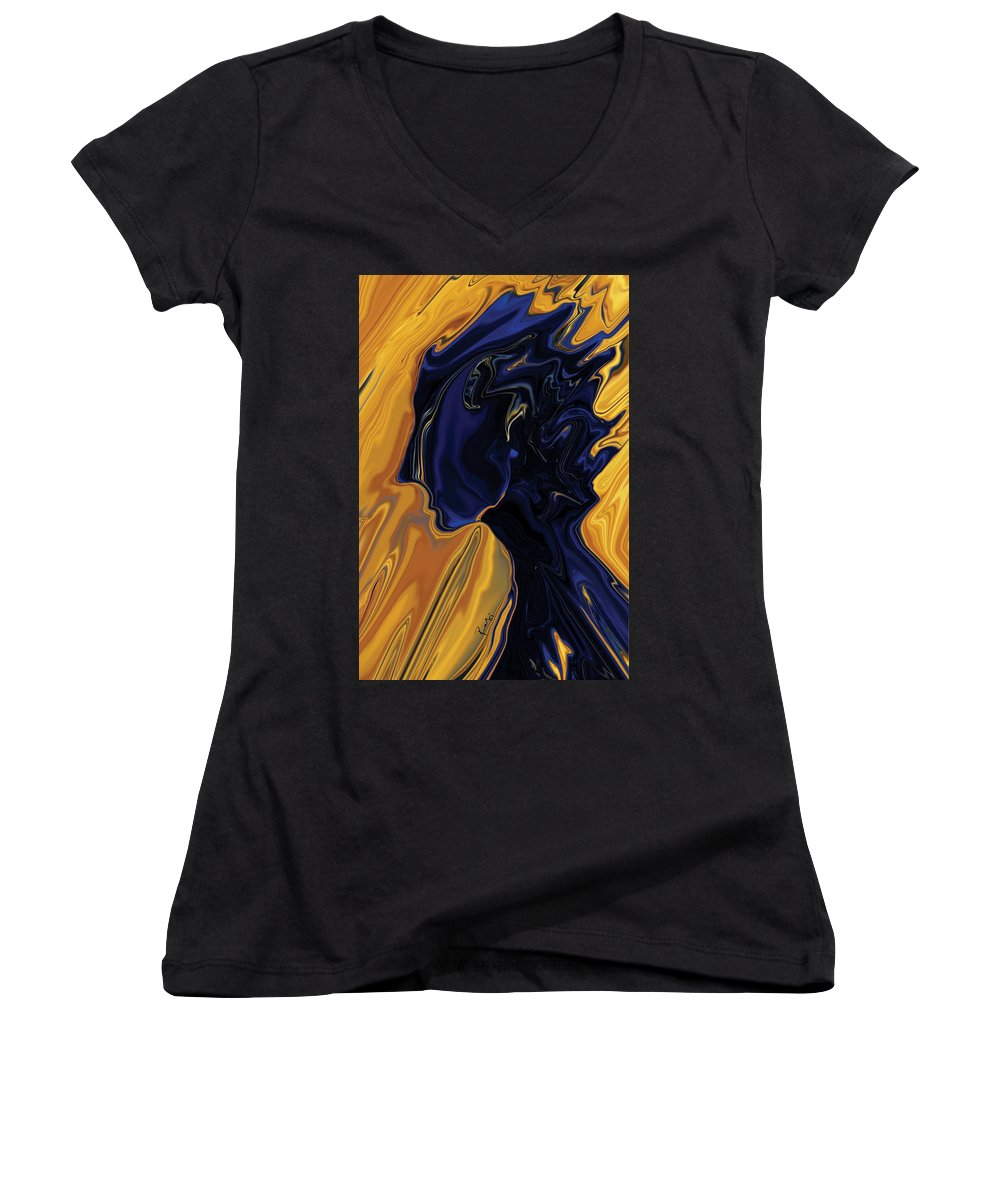 Abstract Women's V-Neck (Athletic Fit) featuring the digital art Against The Wind by Rabi Khan