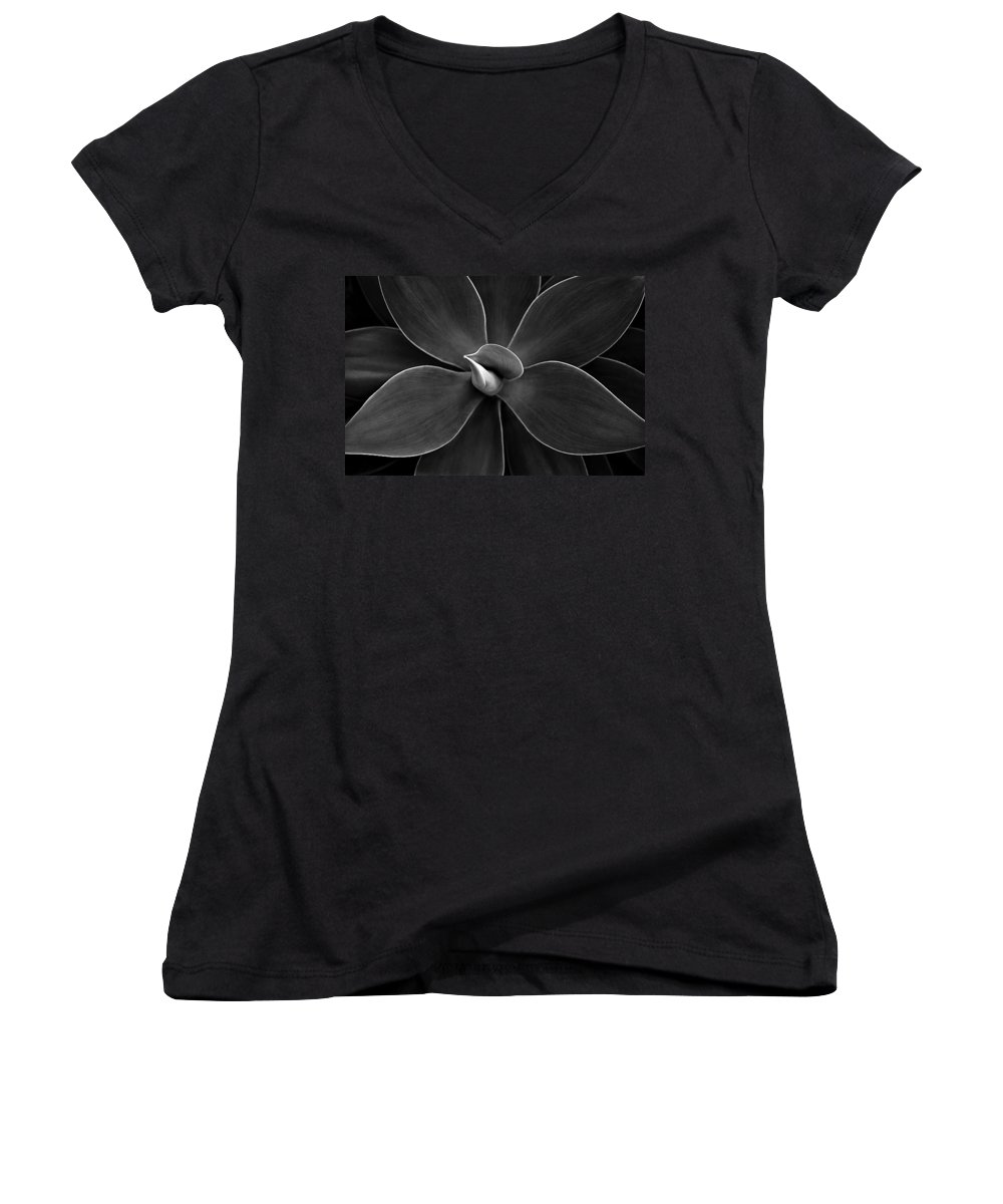 Agave Women's V-Neck (Athletic Fit) featuring the photograph Agave Leaves Detail by Marilyn Hunt