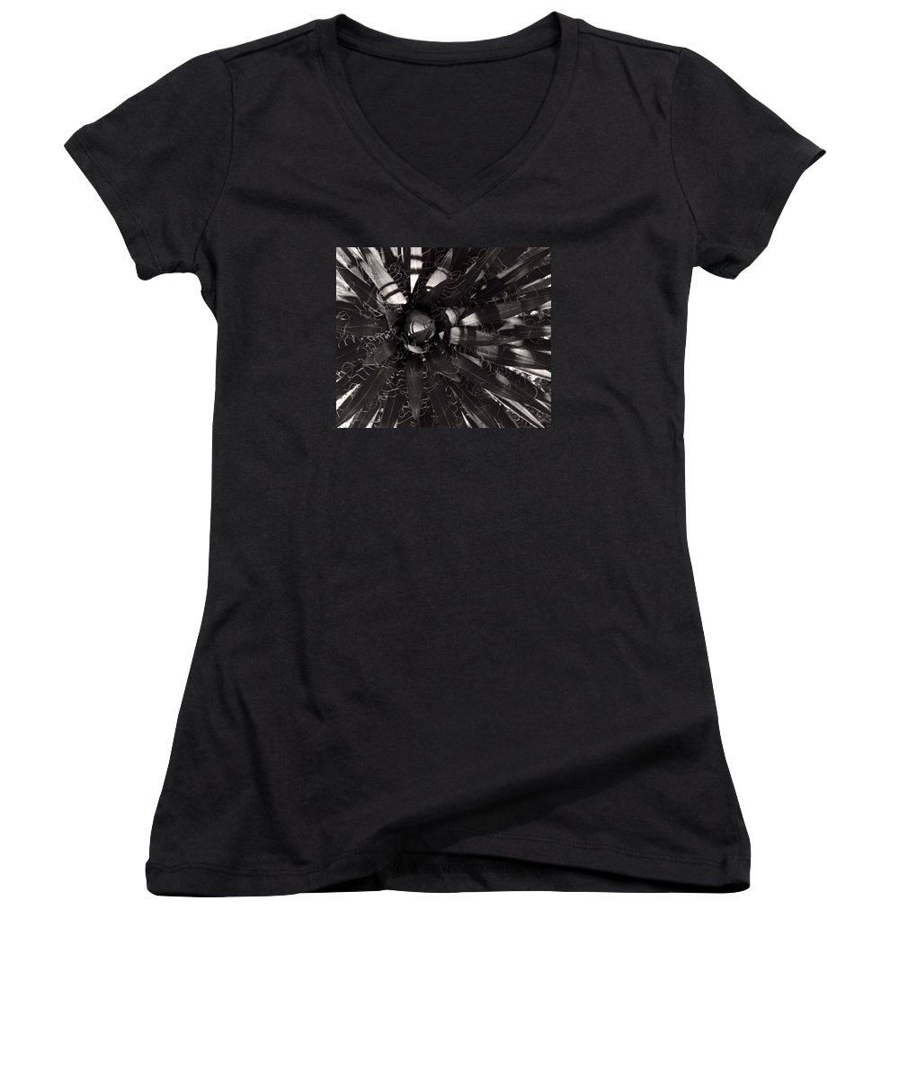 Agave Women's V-Neck T-Shirt featuring the photograph Agave by Steve Bisgrove