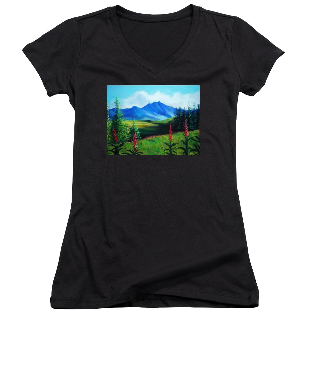Alaska Women's V-Neck (Athletic Fit) featuring the pastel Alaska by Melinda Etzold