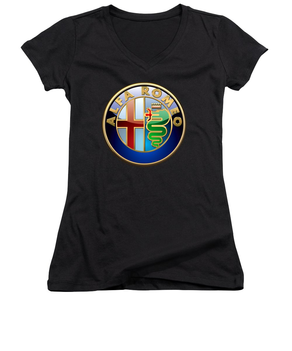 Wheels Of Fortune� Collection By Serge Averbukh Women's V-Neck featuring the photograph Alfa Romeo - 3 D Badge On Black by Serge Averbukh