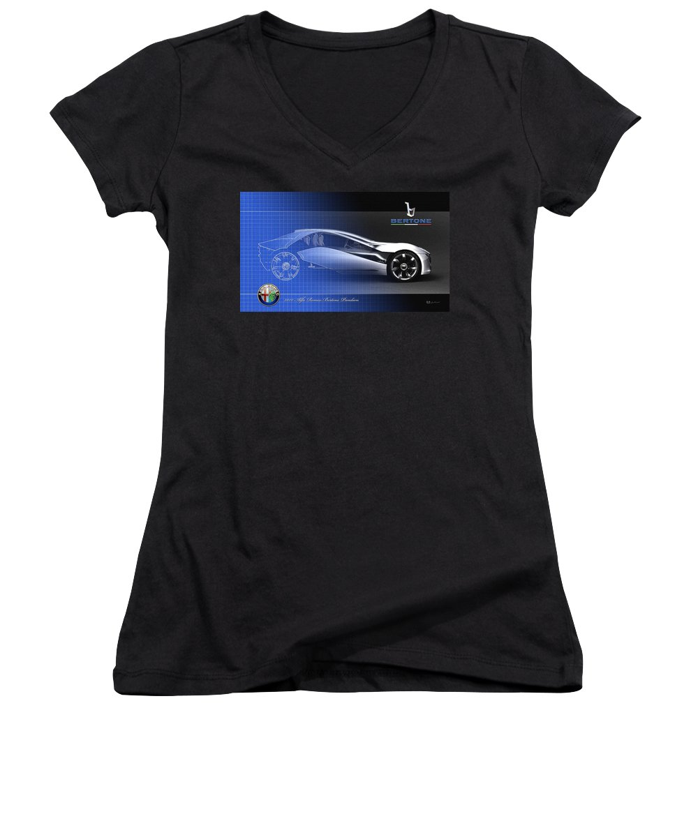 Wheels Of Fortune By Serge Averbukh Women's V-Neck featuring the photograph Alfa Romeo Bertone Pandion Concept by Serge Averbukh