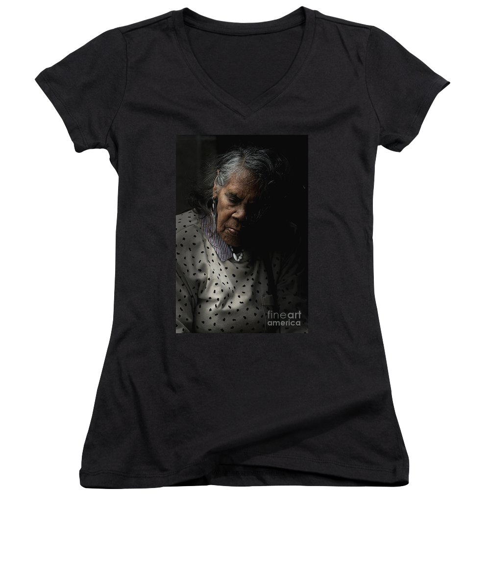Portrait Women's V-Neck T-Shirt featuring the photograph Alice by Sheila Smart Fine Art Photography