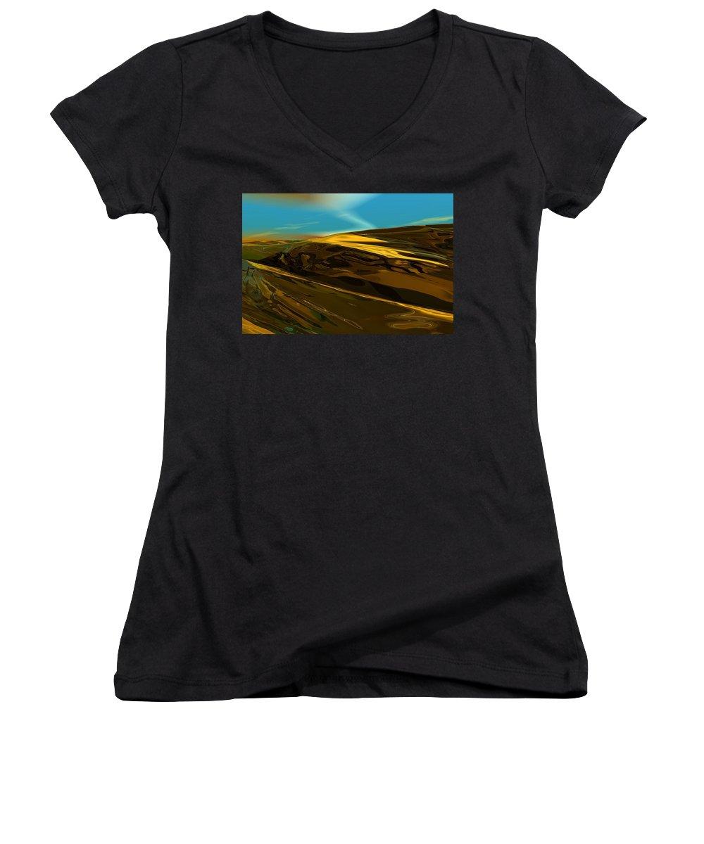 Landscape Women's V-Neck (Athletic Fit) featuring the digital art Alien Landscape 2-28-09 by David Lane