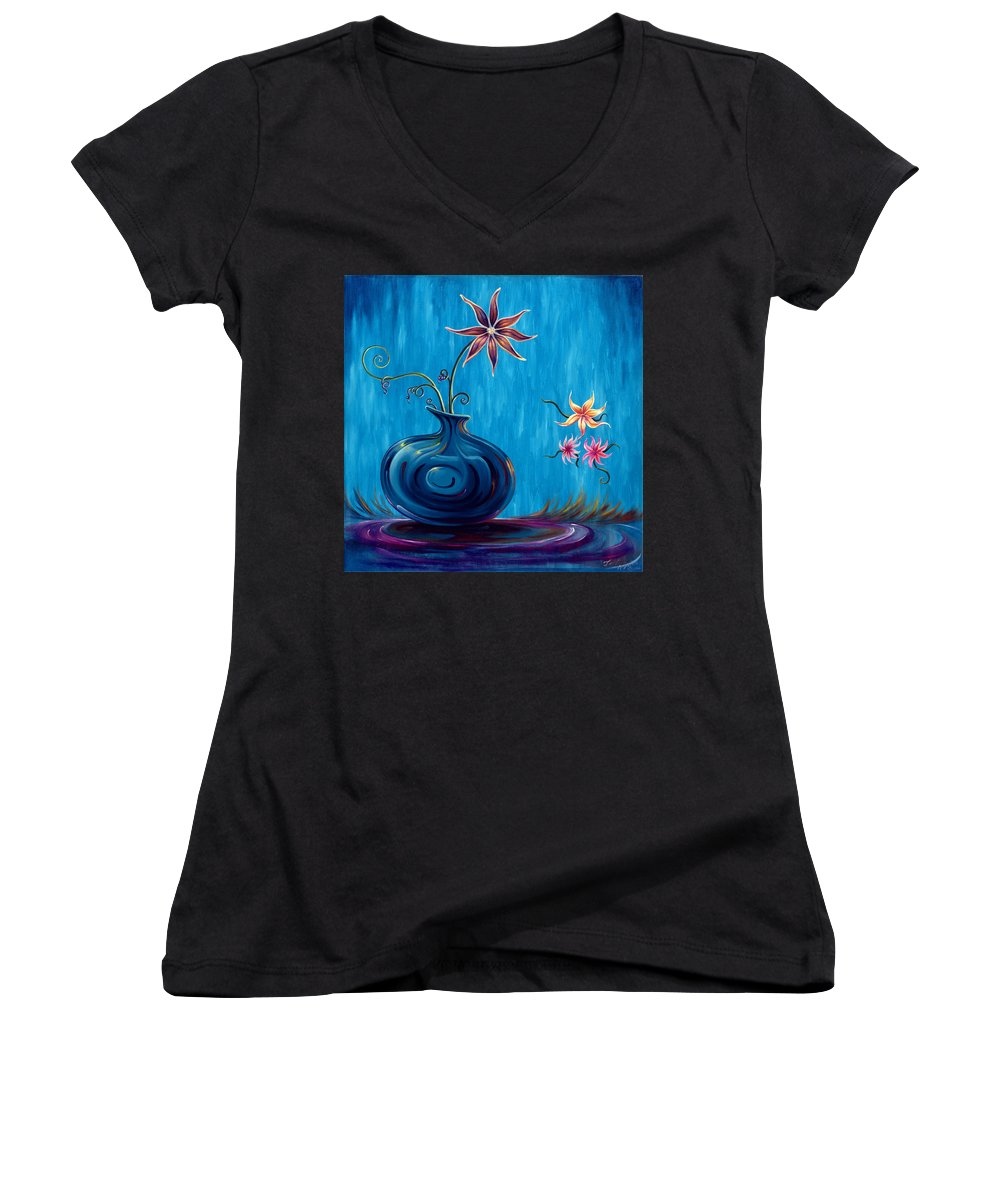 Fantasy Floral Scape Women's V-Neck (Athletic Fit) featuring the painting Aloha Rain by Jennifer McDuffie