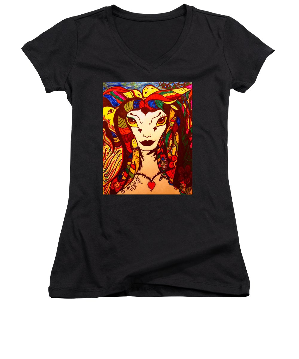Fantasy Women's V-Neck T-Shirt featuring the painting Amazon Queen by Natalie Holland