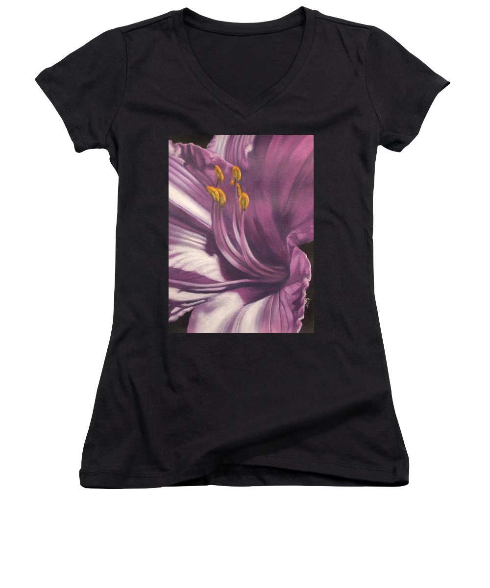 Floral Women's V-Neck T-Shirt featuring the mixed media Amethyst by Barbara Keith