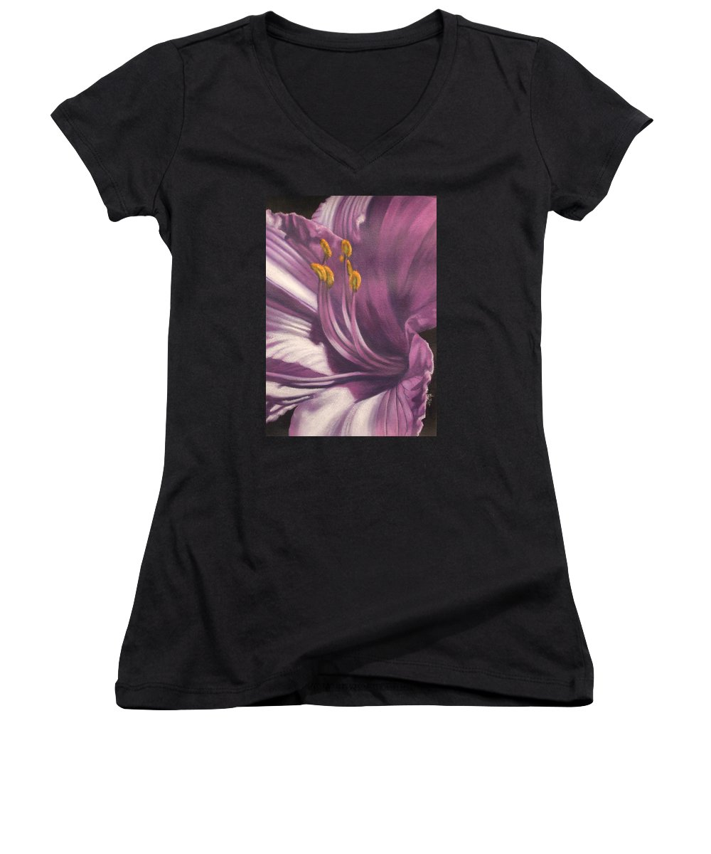 Floral Women's V-Neck (Athletic Fit) featuring the mixed media Amethyst by Barbara Keith