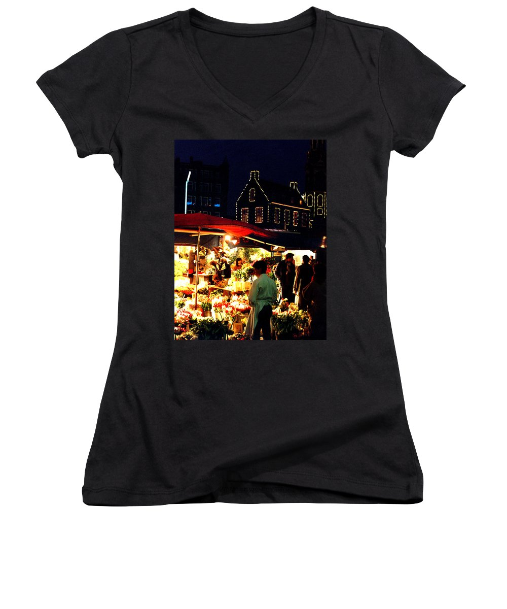 Flowers Women's V-Neck (Athletic Fit) featuring the photograph Amsterdam Flower Market by Nancy Mueller