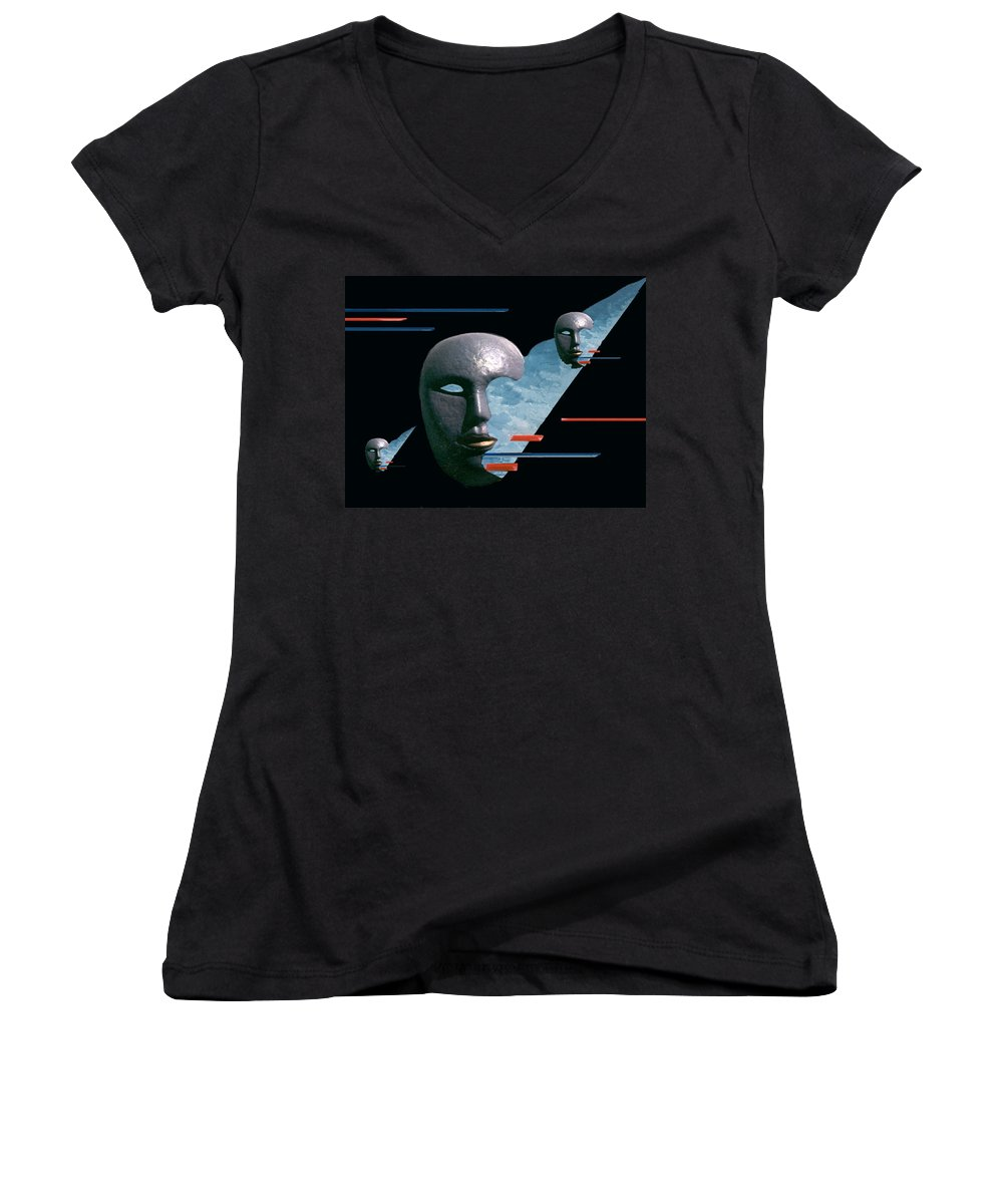 Surreal Women's V-Neck T-Shirt featuring the digital art An Androids Dream by Steve Karol