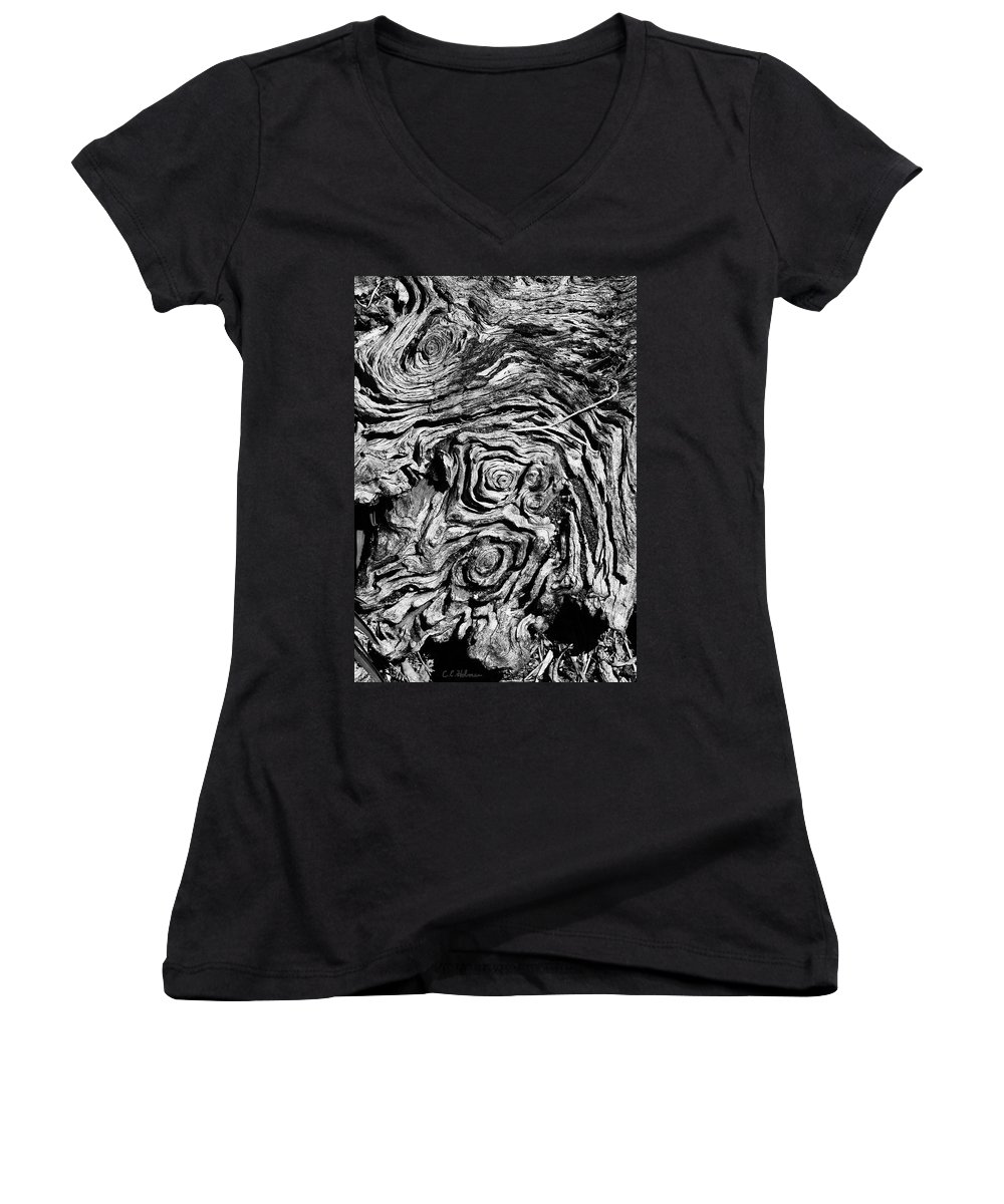 Tree Women's V-Neck T-Shirt featuring the photograph Ancient Stump by Christopher Holmes