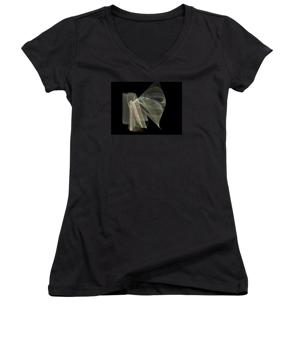 Experimental Women's V-Neck T-Shirt featuring the digital art And The Angel Spoke..... by Jackie Mueller-Jones