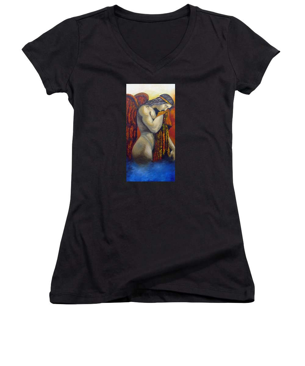 Angel Women's V-Neck T-Shirt featuring the painting Angel Of Love by Elizabeth Lisy Figueroa
