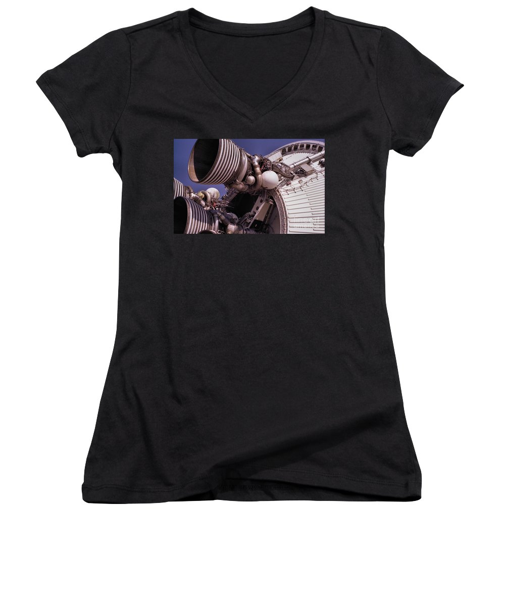 Technology Women's V-Neck (Athletic Fit) featuring the photograph Apollo Rocket Engine by Richard Rizzo