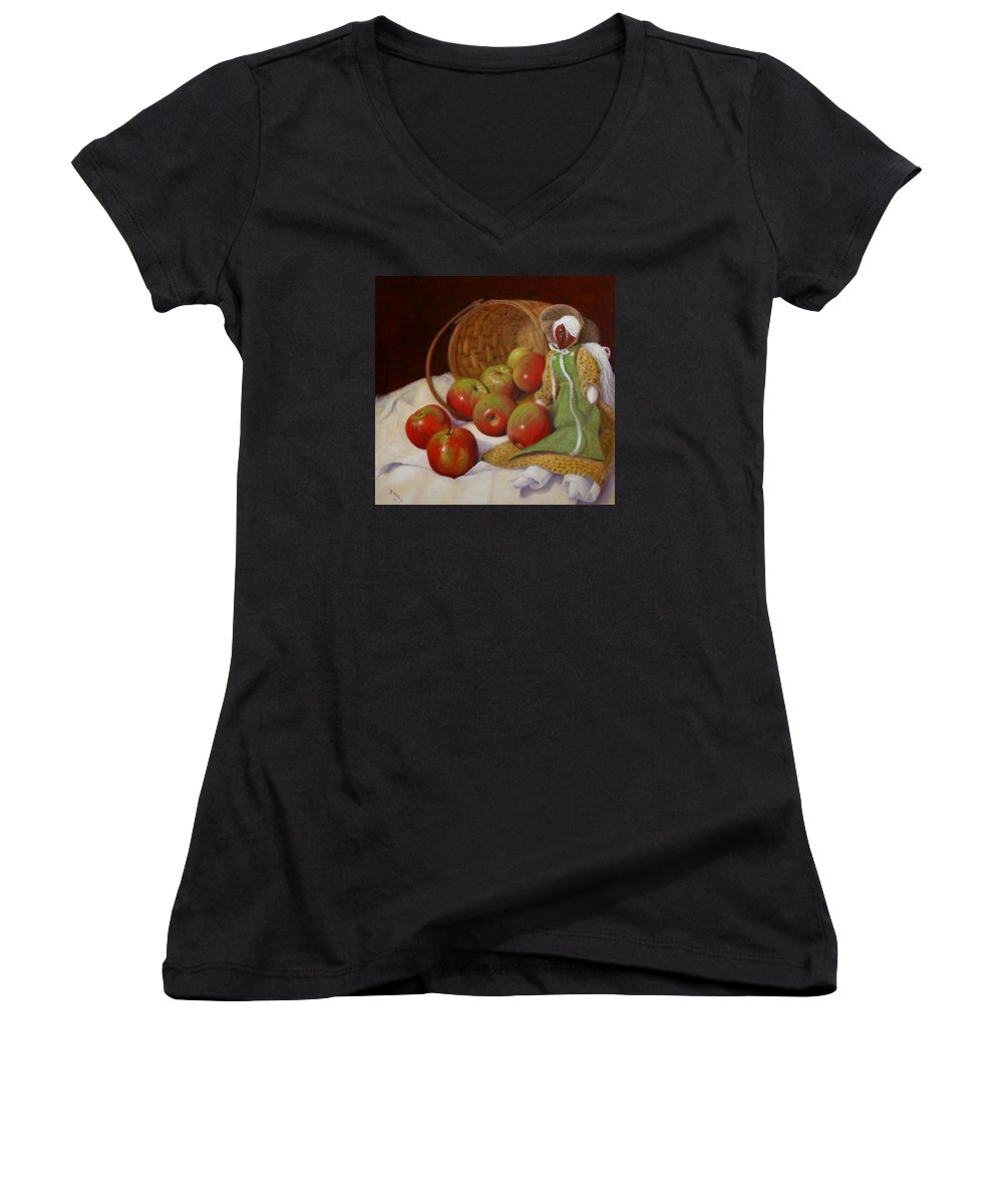 Realism Women's V-Neck T-Shirt featuring the painting Apple Annie by Donelli DiMaria