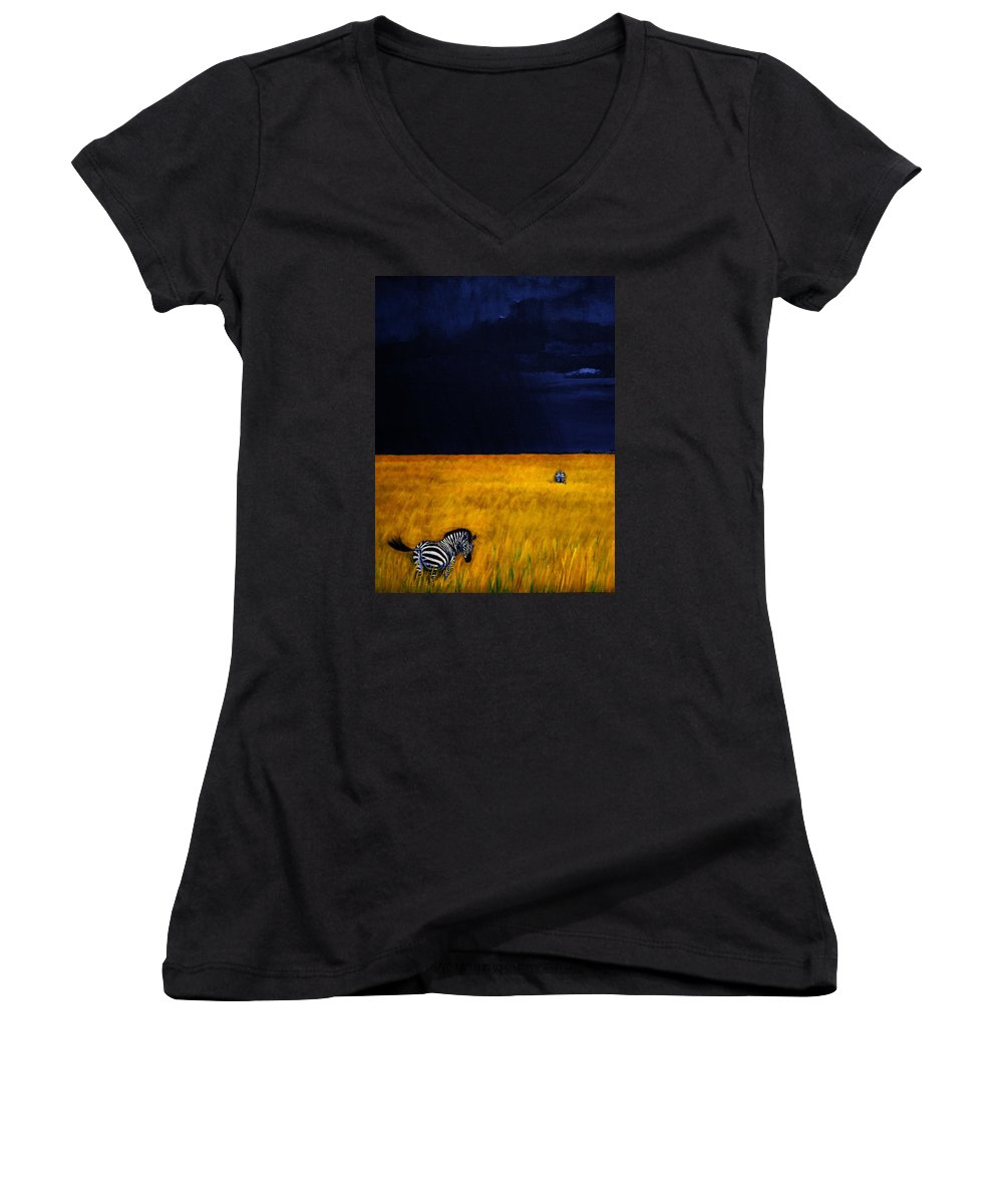 African Landscape Zebra Storm Clouds Edith Peterson Watson Scenery Nature Animals Wildlife Women's V-Neck T-Shirt featuring the painting Approaching Storm by Edith Peterson-Watson