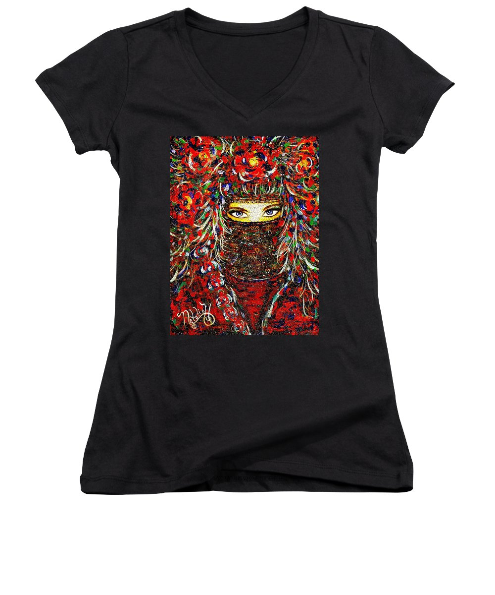 Woman Women's V-Neck T-Shirt featuring the painting Arabian Eyes by Natalie Holland