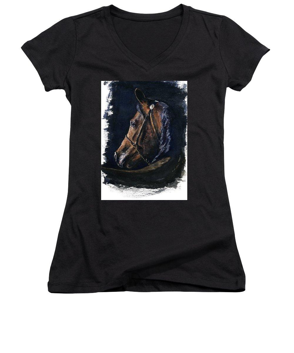 Horse Women's V-Neck T-Shirt featuring the painting Arabian by John D Benson