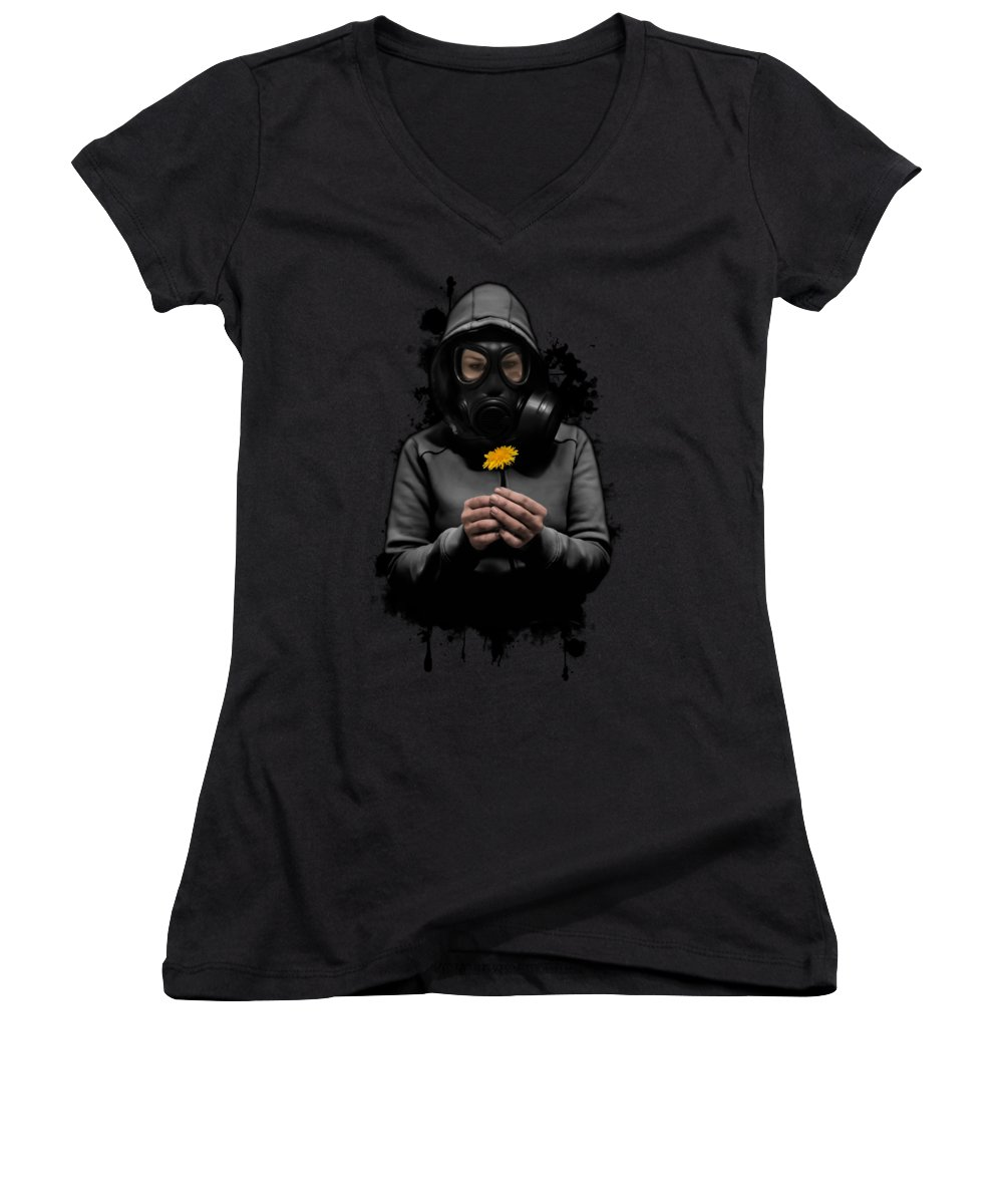 Gasmask Women's V-Neck featuring the photograph Toxic Hope by Nicklas Gustafsson