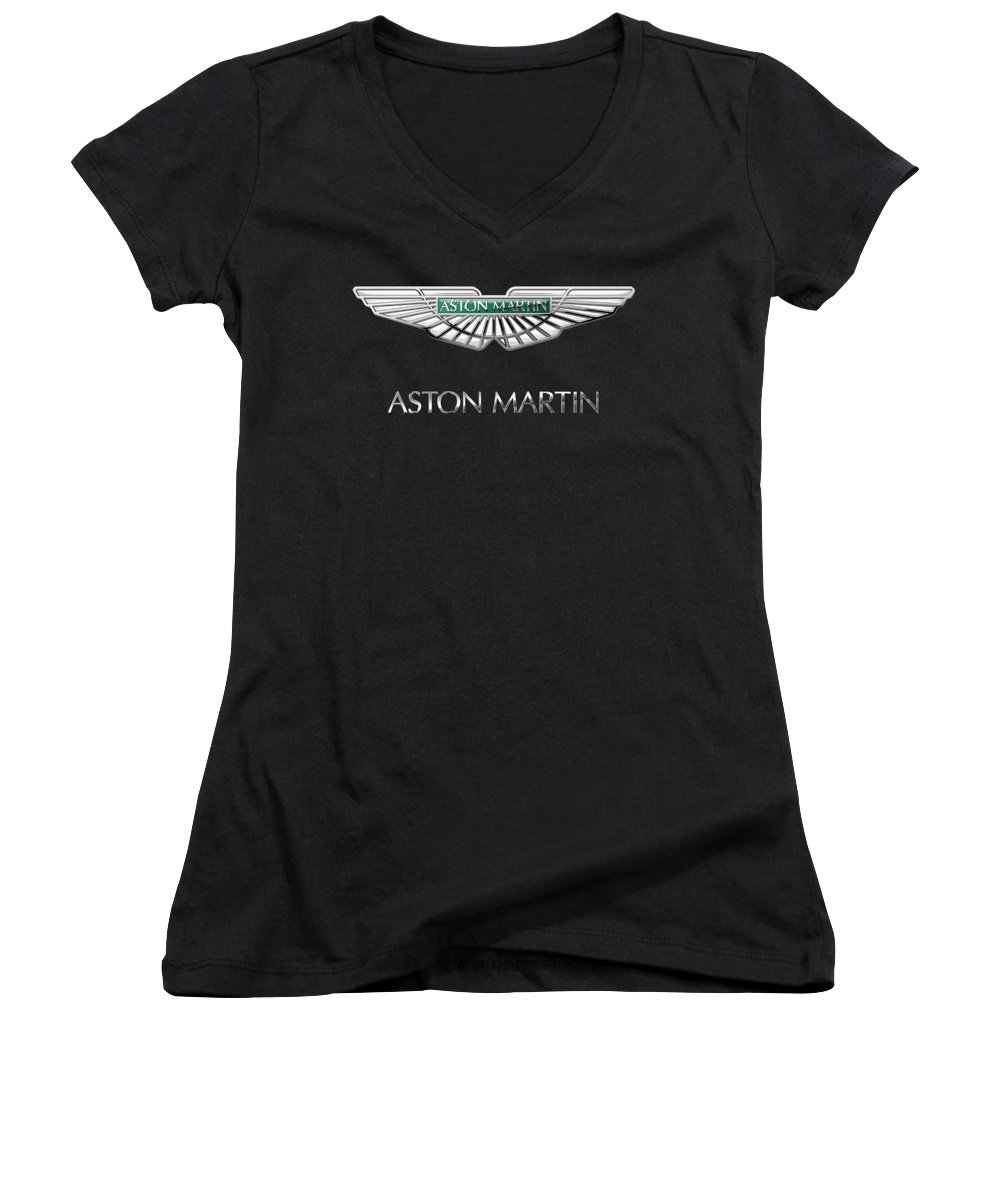 'wheels Of Fortune� Collection By Serge Averbukh Women's V-Neck featuring the photograph Aston Martin 3 D Badge On Black by Serge Averbukh
