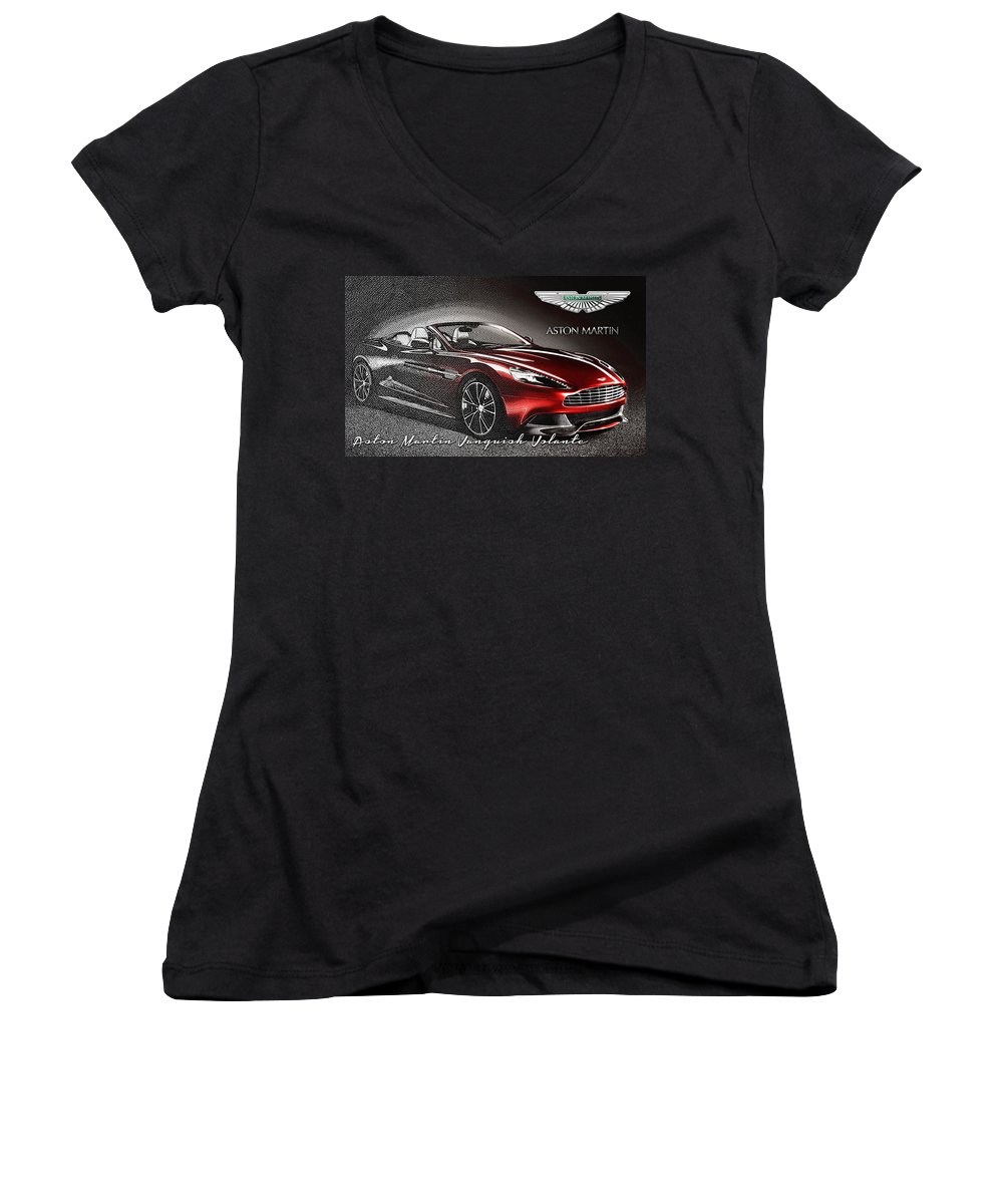 �wheels Of Fortune� Collection By Serge Averbukh Women's V-Neck featuring the photograph Aston Martin Vanquish Volante by Serge Averbukh