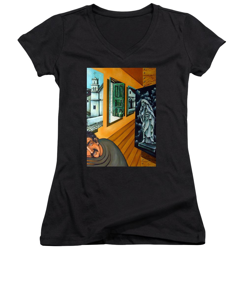 Surreal Women's V-Neck T-Shirt featuring the painting Asylum by Valerie Vescovi