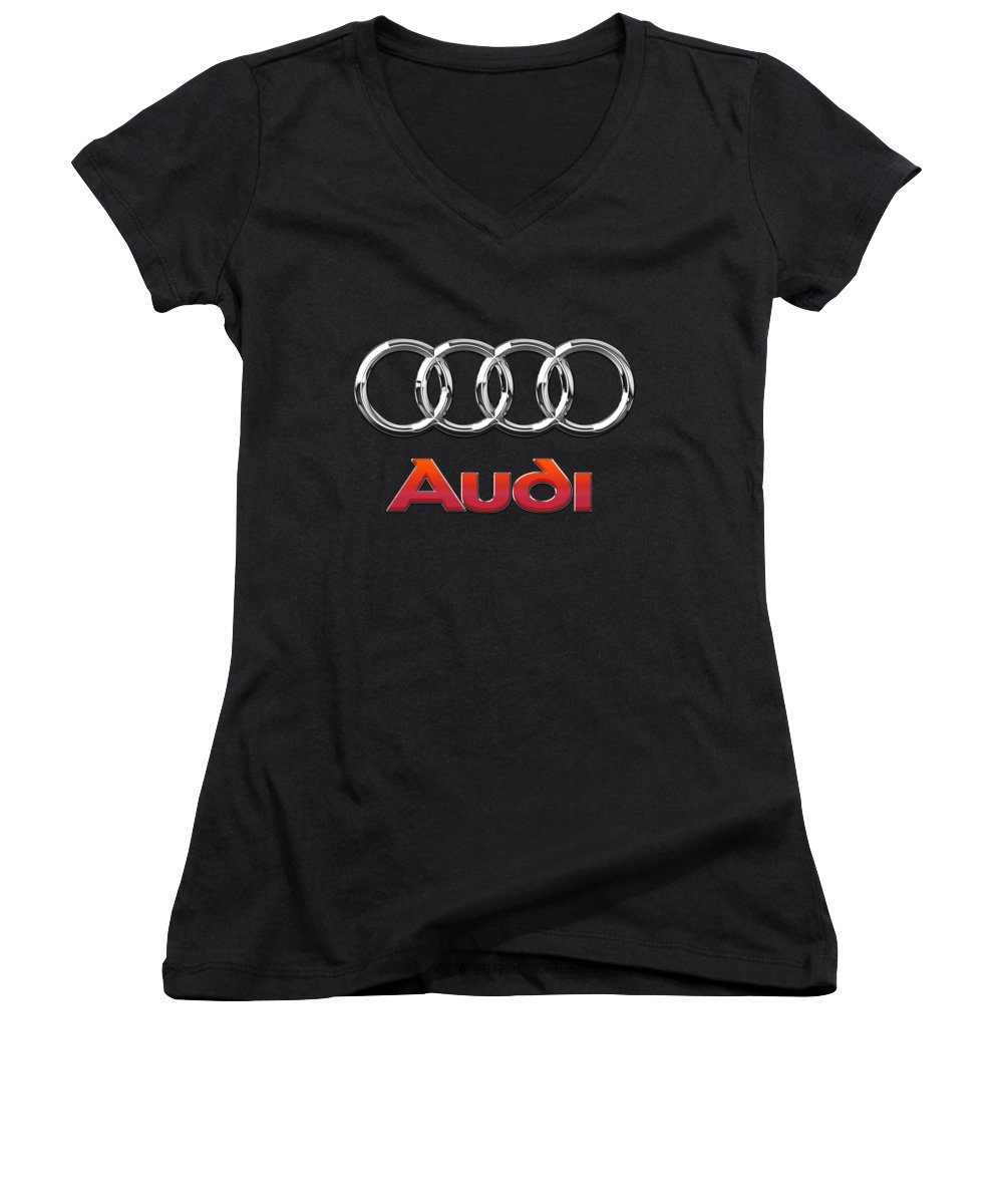 'wheels Of Fortune' Collection By Serge Averbukh Women's V-Neck T-Shirt featuring the photograph Audi 3 D Badge On Black by Serge Averbukh