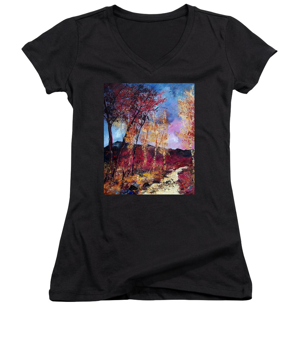 Landscape Women's V-Neck (Athletic Fit) featuring the painting Autumn 760808 by Pol Ledent