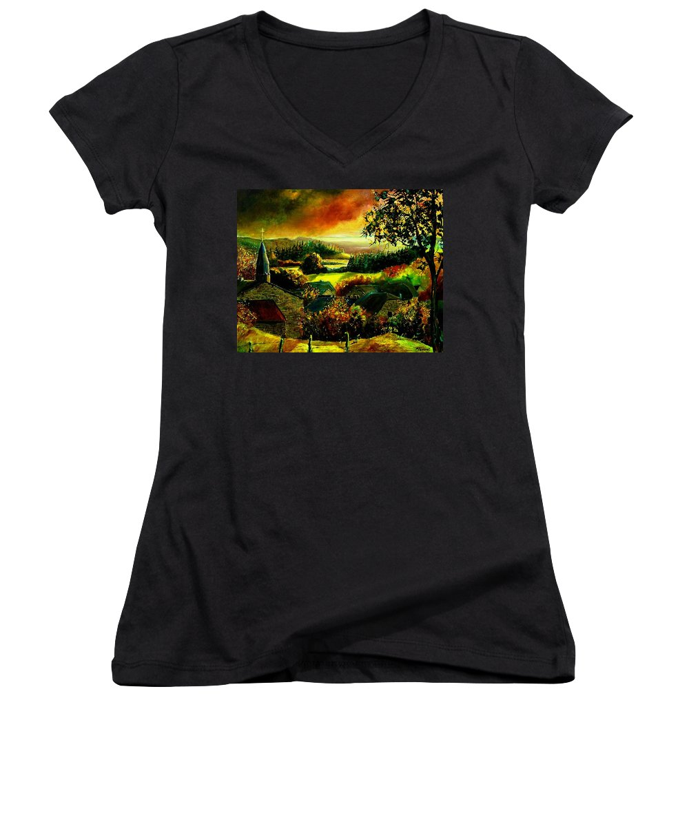 Landscape Women's V-Neck T-Shirt featuring the painting Autumn In Our Village Ardennes by Pol Ledent