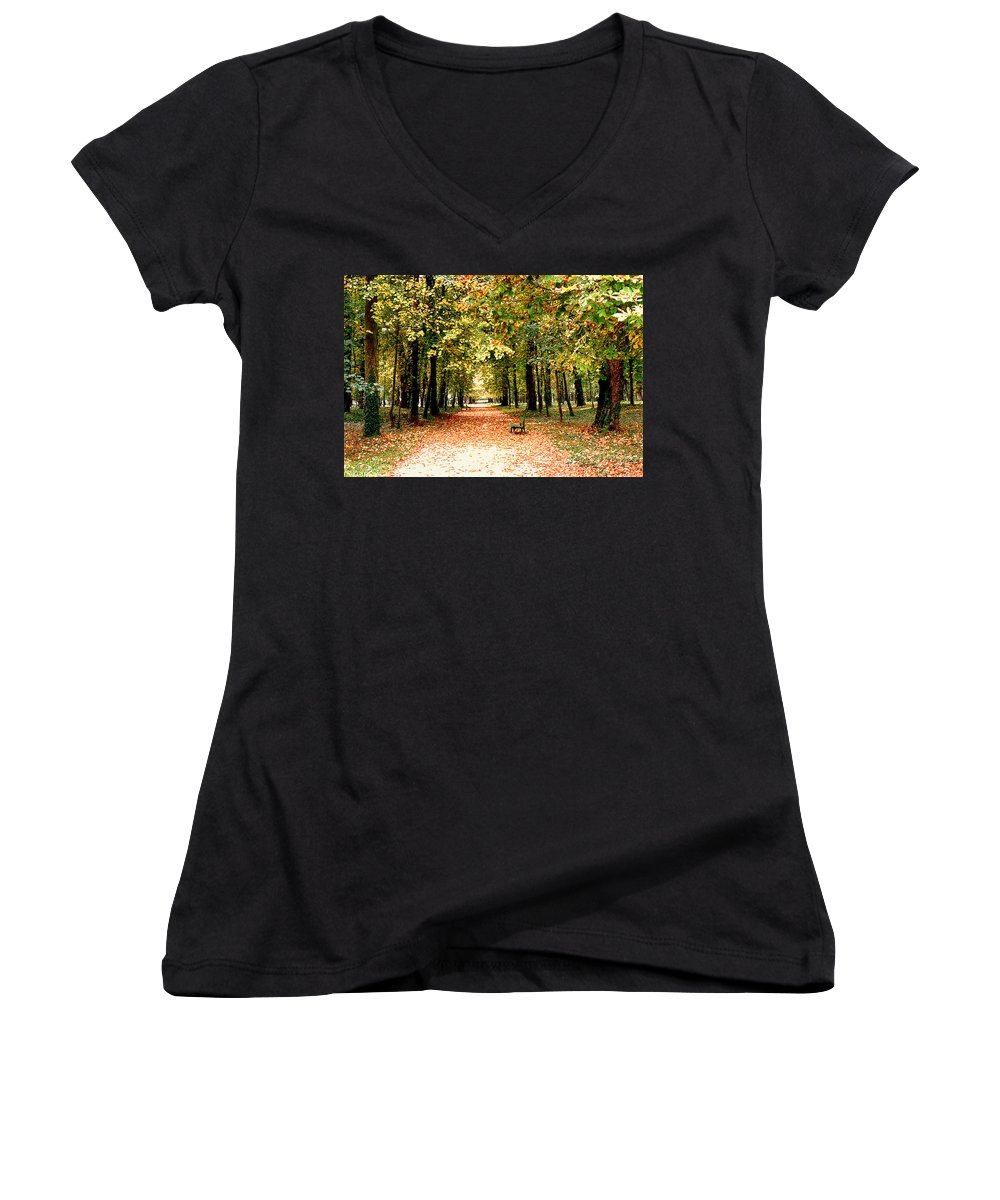 Autumn Women's V-Neck T-Shirt featuring the photograph Autumn In The Park by Nancy Mueller