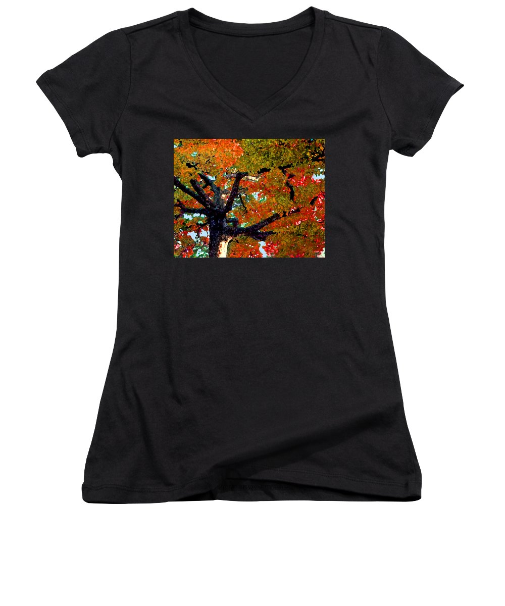 Fall Women's V-Neck (Athletic Fit) featuring the photograph Autumn Tree by Steve Karol