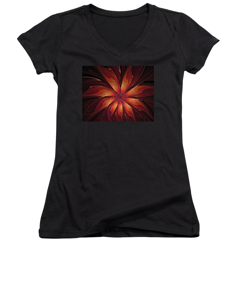 Digital Art Women's V-Neck (Athletic Fit) featuring the digital art Autumnal Glory by Amanda Moore