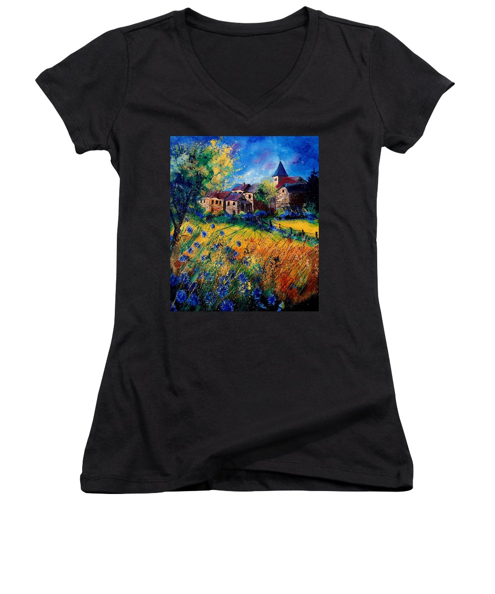 Tree Women's V-Neck T-Shirt featuring the painting Awagne 67 by Pol Ledent