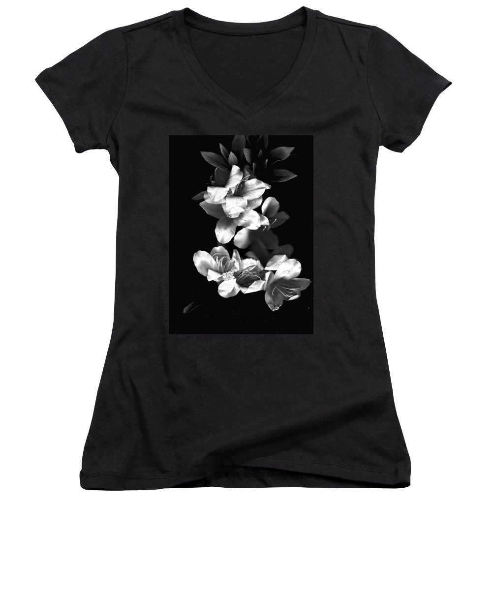 Azaela Women's V-Neck (Athletic Fit) featuring the photograph Azaela Blossom In Black And White by Wayne Potrafka