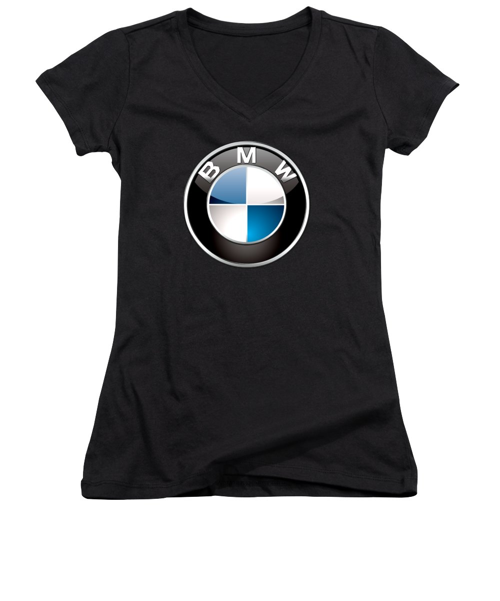 �wheels Of Fortune� Collection By Serge Averbukh Women's V-Neck featuring the photograph B M W 3 D Badge on Black by Serge Averbukh