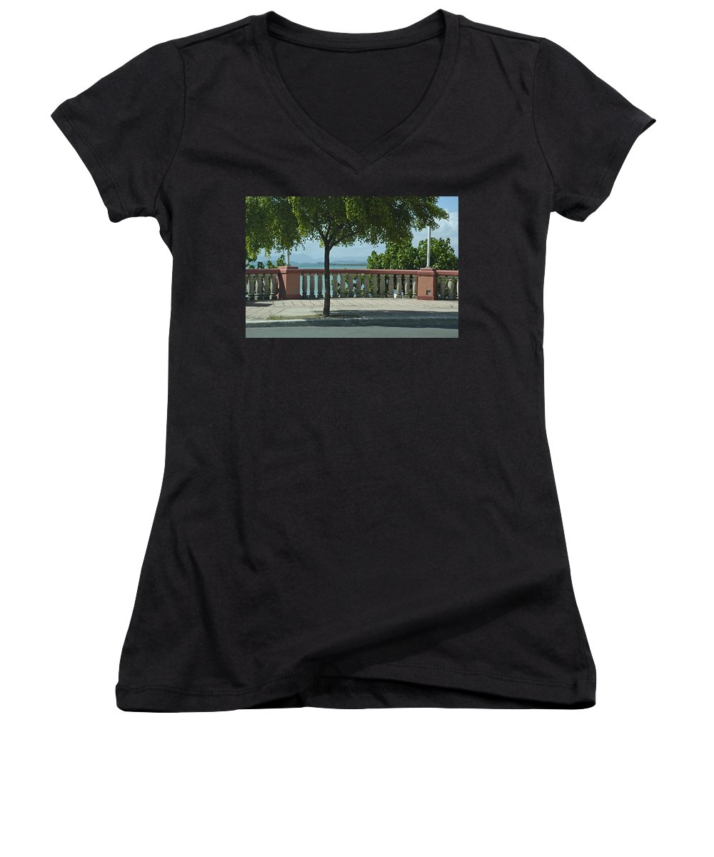Landscape Women's V-Neck (Athletic Fit) featuring the photograph Balcony On The Beach In Naguabo Puerto Rico by Tito Santiago