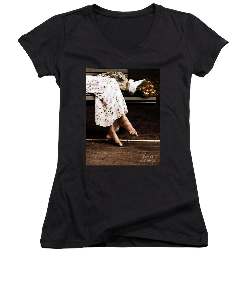 Barefeet Feet Barefoot Tulips Women's V-Neck (Athletic Fit) featuring the photograph Barefoot And Tulips by Sheila Smart Fine Art Photography