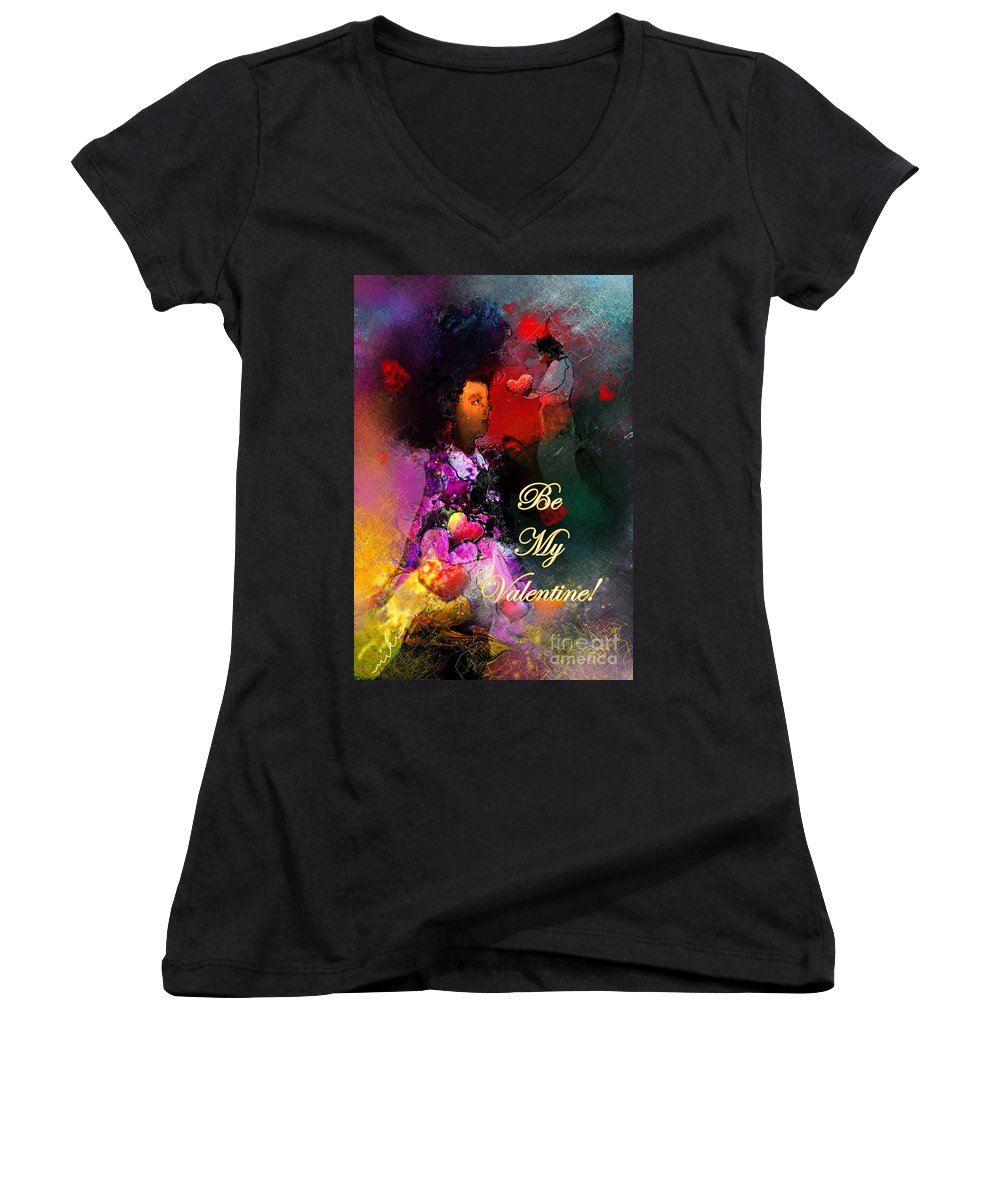 Love Women's V-Neck (Athletic Fit) featuring the painting Be My Valentine by Miki De Goodaboom