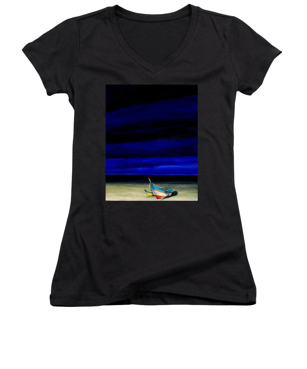 Landscape Painting Women's V-Neck T-Shirt featuring the painting Beached by Edith Peterson-Watson